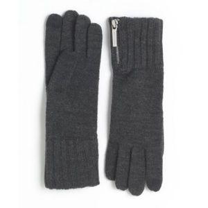 Micheal Kors Dark Grey Knit Zipper Gloves